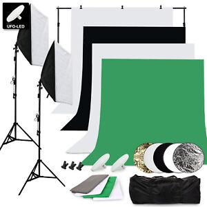 fotostudio set 4x hintergrund softbox fotolampe studioleuchte stativ mit tasche ebay. Black Bedroom Furniture Sets. Home Design Ideas