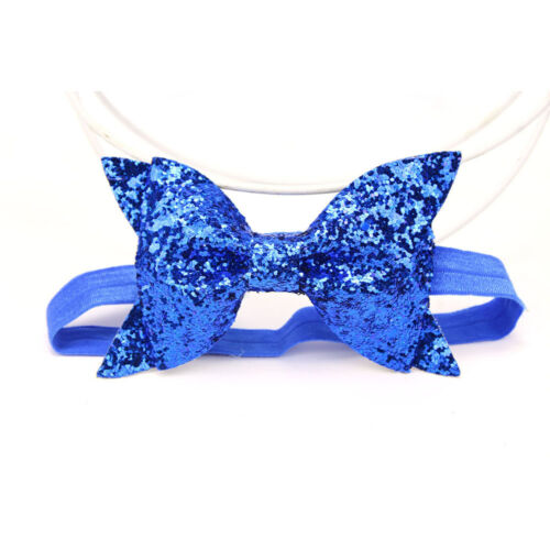 Baby Girl Kid Child Sequin Glittery Stretchy Elastic Bow Headband Hair Head Band