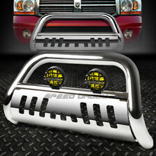 Chrome Bull Bar Grille Guardyellow Fog Light For 02 09 Dodge Ram 150025003500 Fits 2005 Dodge Ram 1500