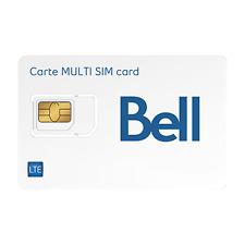 Brand New Bell Mobility LTE Multi Sim Card - Nano Micro Standard 3in1 Combo Size