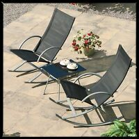 Garden Furniture Patio Set Rocking Chair 3 Piece Coffee Table Bistro Set Outdoor