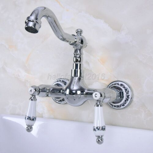 Polished Chrome Brass Wall Mount Bathroom Sink Faucet Swivel Spout Mixer Tap
