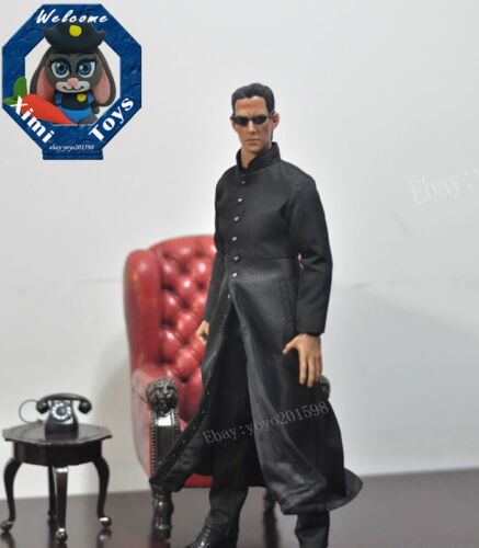 1:6th Scale Black The Matrix Keanu Reeves Neo Coat  F12 Male Action Figure Toys