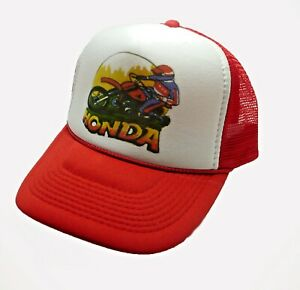 1970 s Honda motocross Trucker Hat mesh hat snap back hat RED ... 2013ae1b8b9