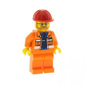 1x-Lego-Figur-Mann-Bauarbeiter-Torso-orange-Bart-Brille-Helm-rot-7243-cty015