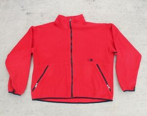 a42f245e3 Details about Vintage The North Face Red Fleece Jacket Full Zip Made In USA  Mens XL