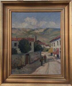 Impressionist-Jacob-Meyer-1895-1971-Personen-Strasse-Dorf-Italien-52-x-43-cm