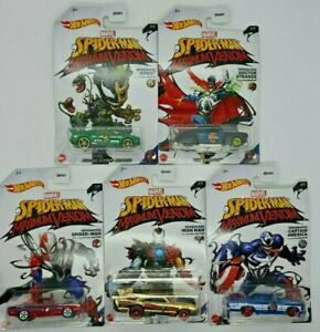 2020-HOT-WHEELS-SPIDER-MAN-MAXIMUM-VENOM-COMPLETE-SET-OF-5-Walmart-exclusive