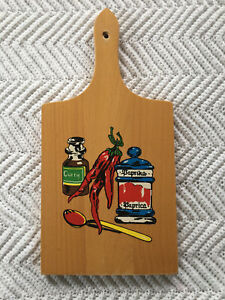 Nevco-Cutting-Board-MCM-Mid-Century-Retro-Wood-Vintage-Spices-Kitchen-Decor-Vtg