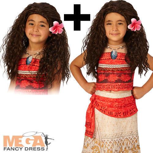 Deluxe Moana Wig Girls Fancy Dress Hawaiian Disney Book Day Kid Childs Costume