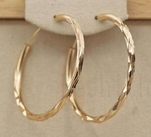 18K-Gold-Filled-1-4-034-Big-Hoop-Geometry-Concave-amp-convex-Women-Pageant-Earrings