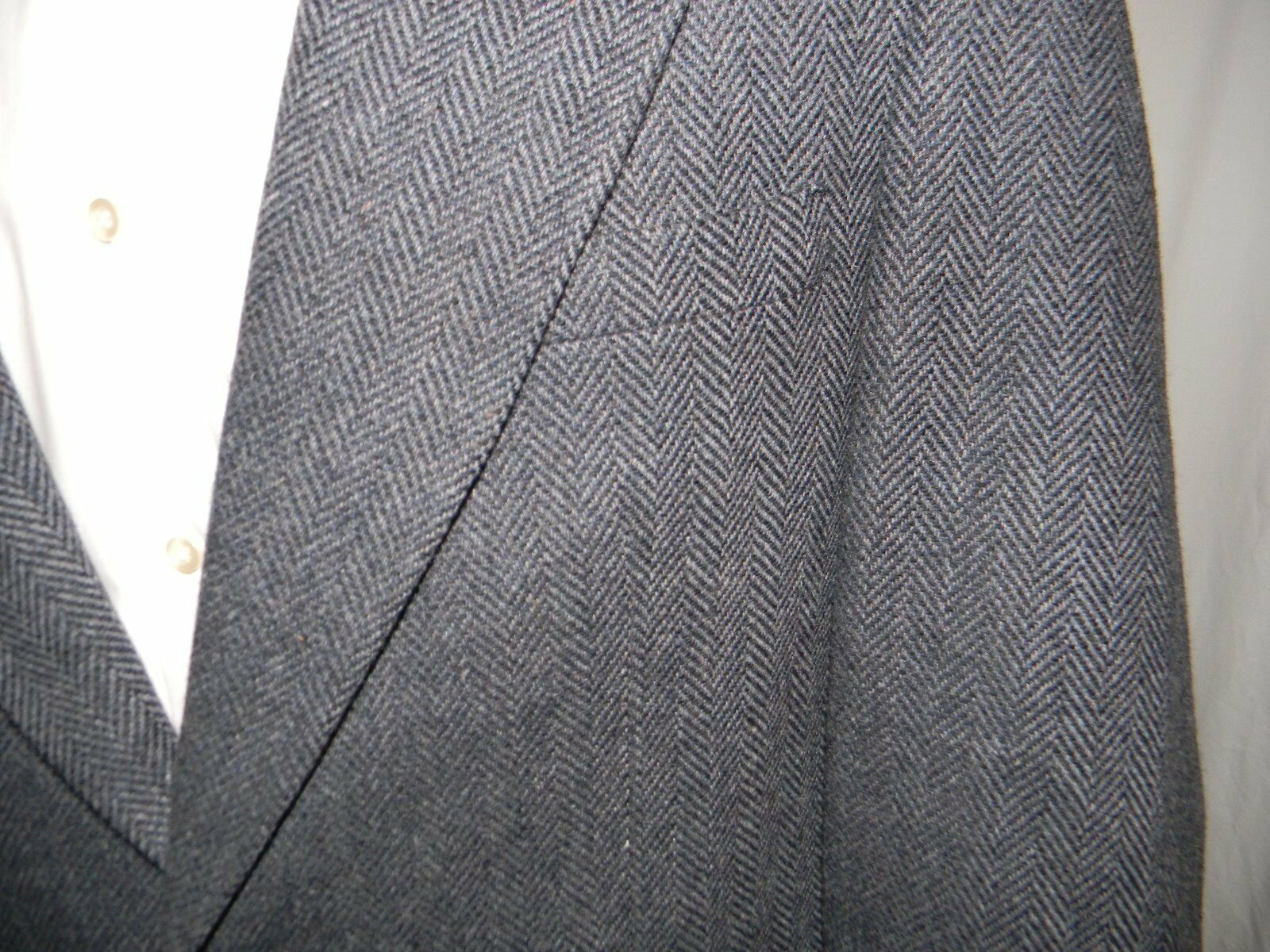 Towncraft Blazer 2 Button Blau Herringbone 100% Wool Center Vent 42
