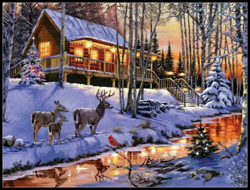 Cabin DIY Chart Counted Cross Stitch Patterns Needlework Embroidery 14 ct