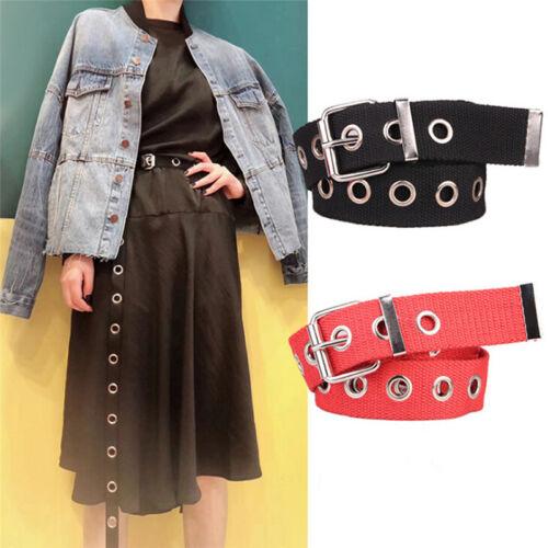 Women Studded Grommet Hole Single Pin Buckle Canvas Nylon Belt 23mm WaistbaU df