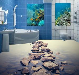 3D Hazy Stone River 6 Floor WallPaper Murals Wall Print 5D AJ WALLPAPER UK Lemon