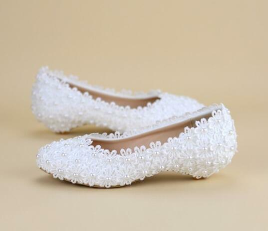 Womens White Lace Flat Heel Formal Wedding Bridal shoes Fashion Plus Size Sweet