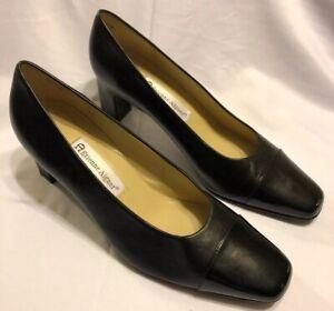 Etienne-Aigner-Leather-STRADA-Shoes-Pumps-Heels-Black-amp-Patent-Black-Toe-Sz-9-5