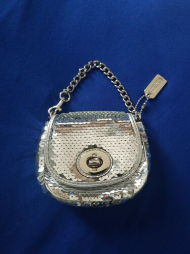 Coach Silver Sequin Poppy Purse With Chain Authent