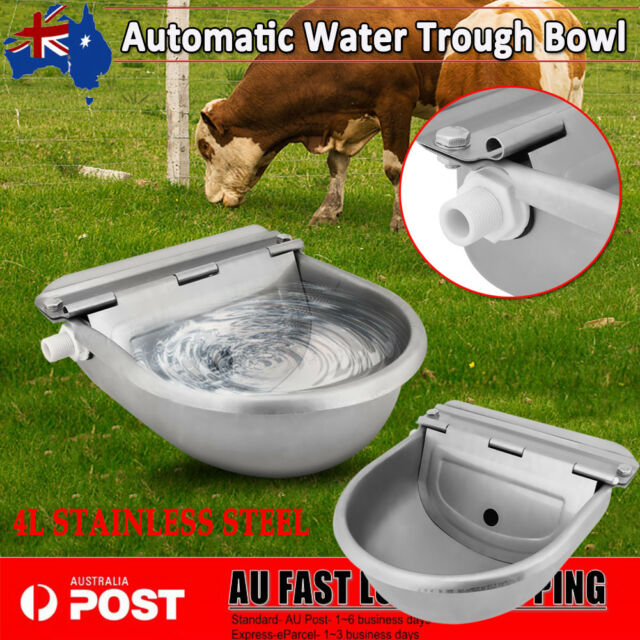 Stainless Water Trough Bowl Automatic Drinking For Animal Horse Dog Auto Fill 4L
