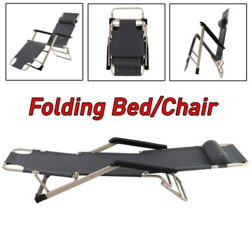 Portable Folding Recliner Chair Metal Frame Guest Visit Bed Recliner Outdoor UK