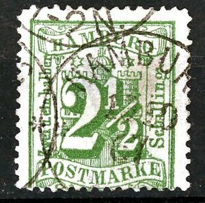 Germany Hamburg 1867 2 1/2 Schillings Dark Green Postally Used Scott's 26a