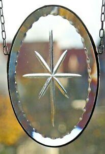 Bleiverglasung Fensterbild Suncatcher Gravur-Facettenoval in Tiffany