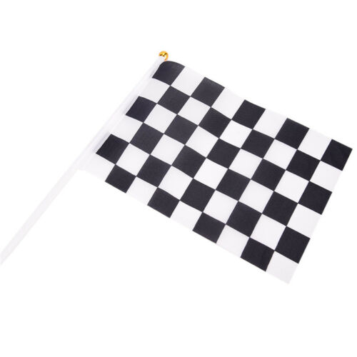 5xBlack And White Flag Checkered Racing Banner Polyester Flags Hand Signal~Fla M