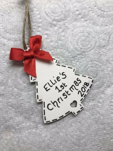 Personalised Baby First 1st Christmas Bauble Tree Decoration Keepsake Girl Boy