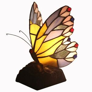 Bieye Tiffany Style Butterfly Accent Table Lamp With 8 Inch Lamp