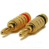 4 Pair Speaker Wire Banana Plugs Gold Plated Audio Connectors - 8 Pcs Lot Pack