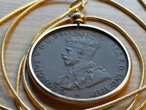 """Fine Classic Indian Head Penny bezel pendant /& 18kgf 24/"""" Gold Filled Snake Chain"""