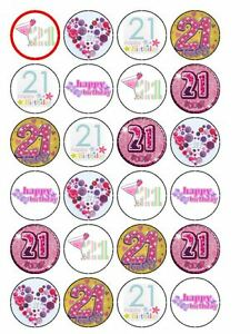 24 x happy 21st birthday girl 1 5 pre cut premium rice paper