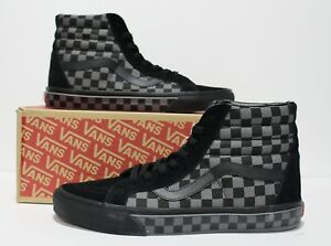 30cffbc69dd Image is loading Vans-SK8-Hi-Reissue-Checkerboard-Black-Pewter-Women-