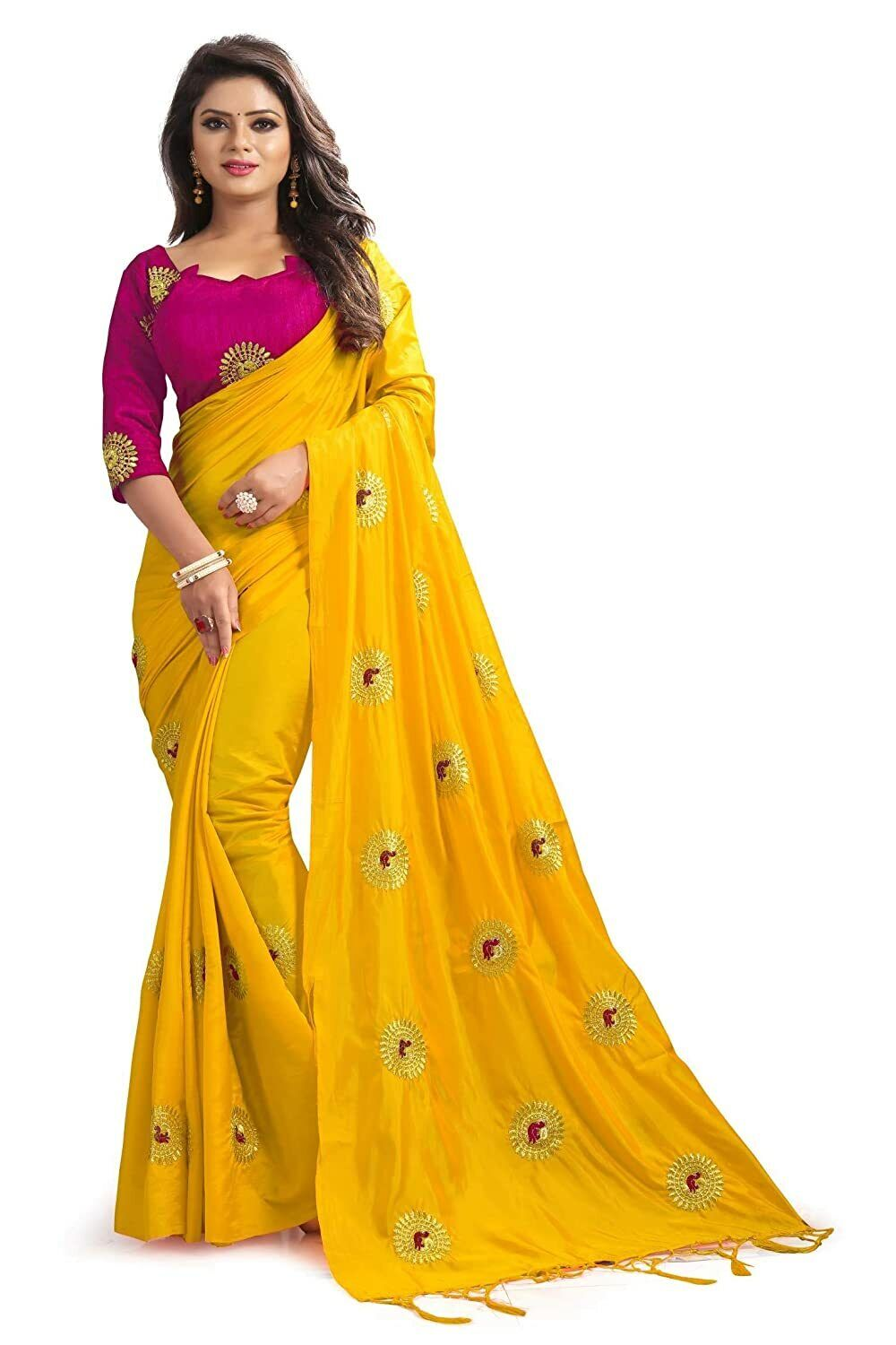 Indian Women's Embroidered Paper Silk Yellow Saree With Blouse Piece Free Shippi