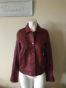 Leather 10 Red Jacket Dkny Womens Size 0xq5xFH