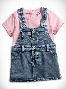 GUESS-Baby-Clothing-Girls-Knit-Denim-Jumper-With-Tee-2-Pieces-Set-Size-18M