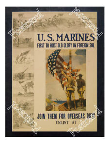 Historic-WWI-Recrutiment-Poster-U-S-Marines-first-to-hoist-Old-Glory-Postcard