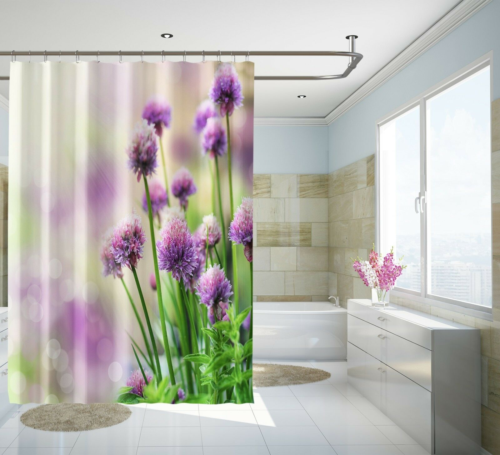 3D lila Flower 13 Shower Curtain Waterproof Fiber Bathroom Home Windows Toilet