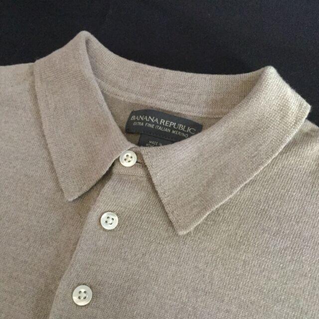 J. Crew Mens Polo Sweater 100% Italian Merino Wool Medium Beige Long Sleeve