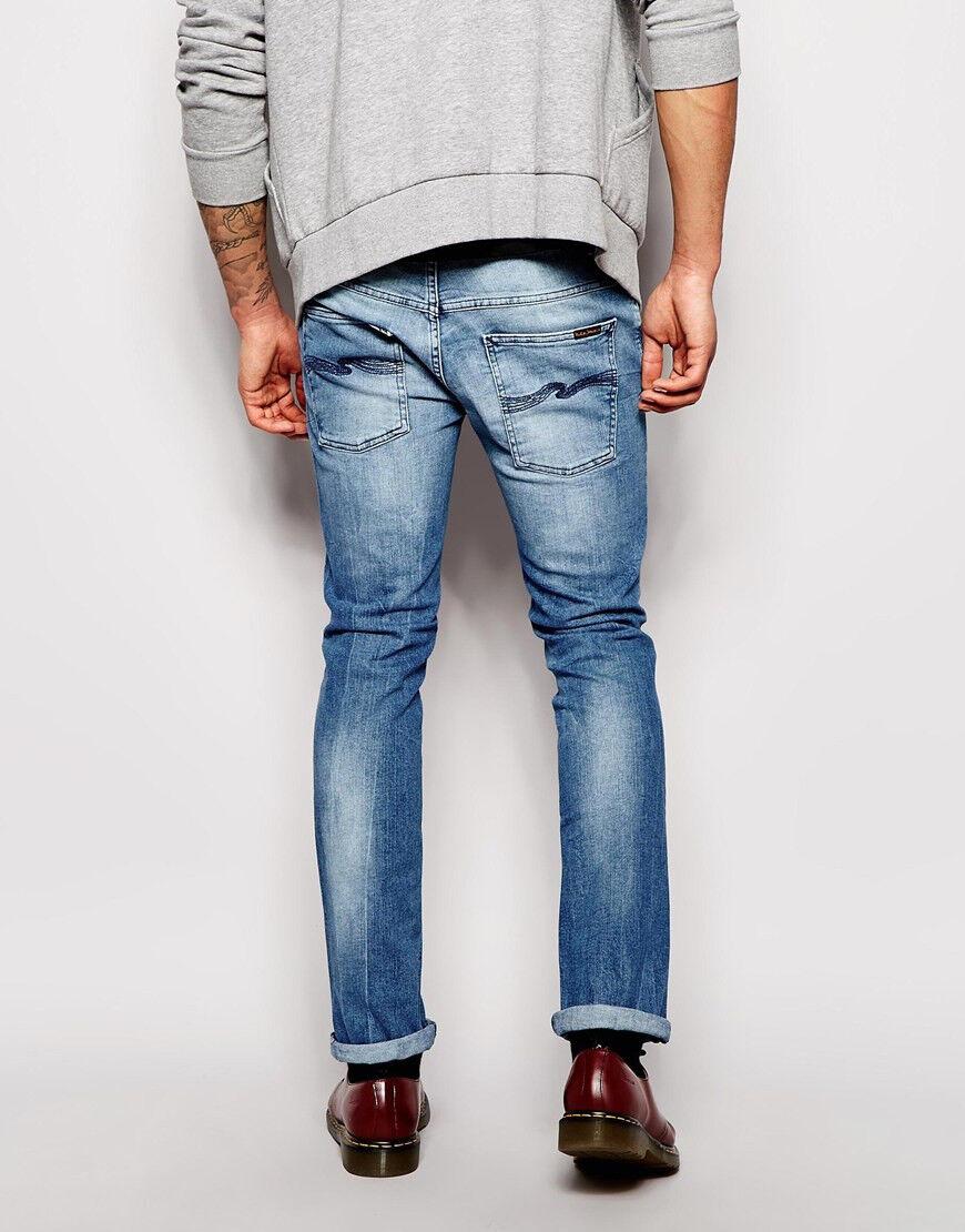 W34 L32 34 32 Nudie jeans THIN FINN MOODY blueE slim tapered fit skinny indigo
