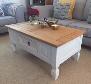 Details About Shabby Chic Coffee Table In Farrow Ball Cornforth White Solid Pine Drawer Next