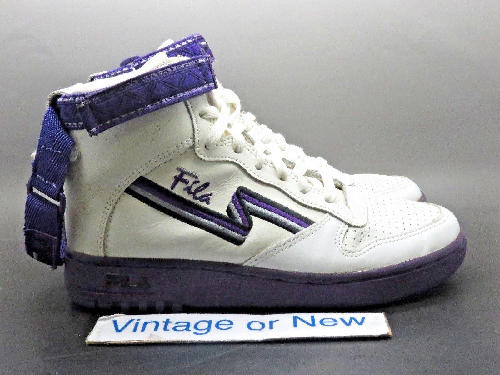 Women's VTG 1992 Fila FX-100 White Purple Double Strap Hi Top Sneakers Price reduction Seasonal clearance sale