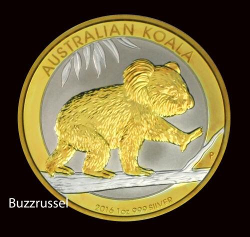 Silver Koala Bear 24K Gold Gilded Perth Mint Ounce F 2016 P  Australian $1 1 oz