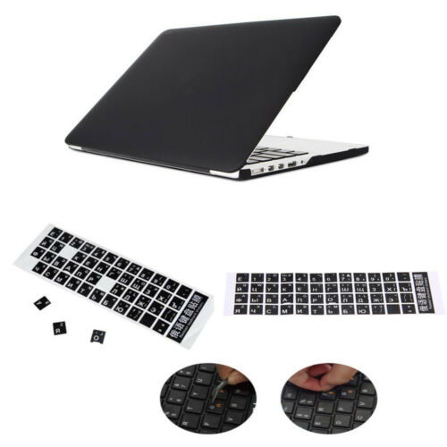 English Russian Standard Keyboard Layout Sticker W// White Letters Black Durable