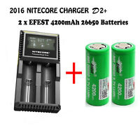 Nitecore D2 Rechargeable Battery Charger + 2 Efest Imr 26650 4200mah Battery