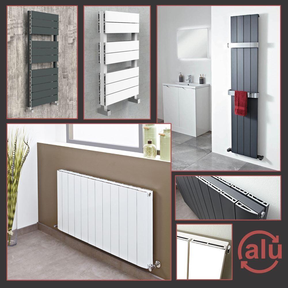 FLOW  Designer Weiß & Anthracite ALUMINIUM Radiators & Towel Rails HIGH BTUS