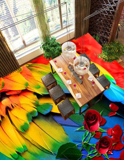 3D Farbeed Feathers 488 Floor WallPaper Murals Wall Print Decal AJ WALLPAPER CA