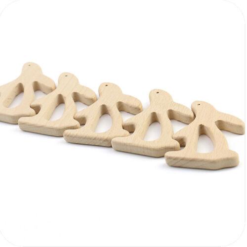 Food Grade Baby Rabbit Animal Chewing Wooden Teething Infant Newborns Toys N7