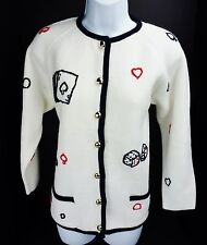 Sz 36 Fine Import Gambling Lucky Cards Acrylic Sweater Cardigan Vtg Vegas Ugly