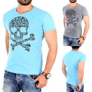 ReRock-T-Shirt-Herren-SKULL-Motiv-Print-Slim-Fit-V-Neck-Shirt-RR-178-Neu